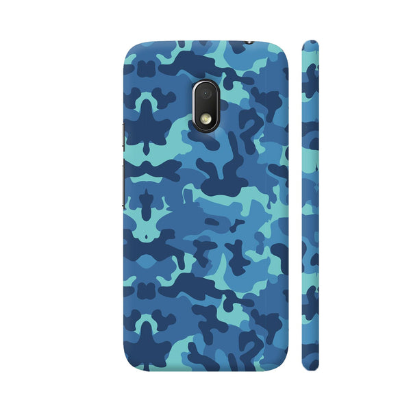 Blue Camouflage Pattern Moto G4 Play Cover | Artist: Astha