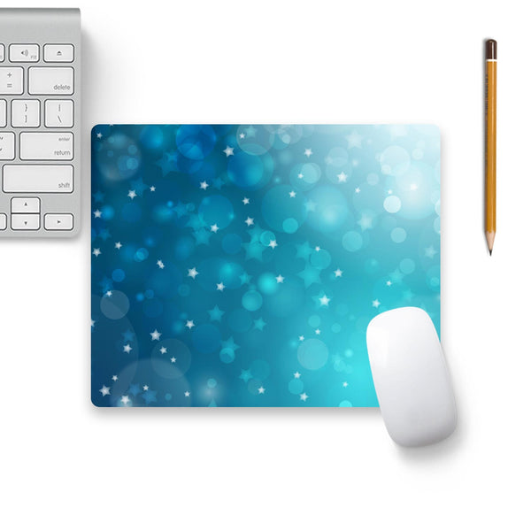 Blue Christmas Stars Mouse Pad Black Base | Artist: Neeja Shah