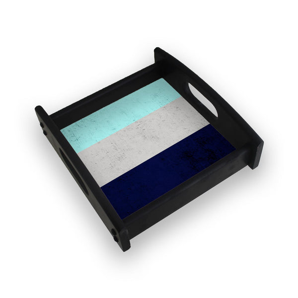 Blue Concrete Design Square Wooden Serving Tray (Ebony)