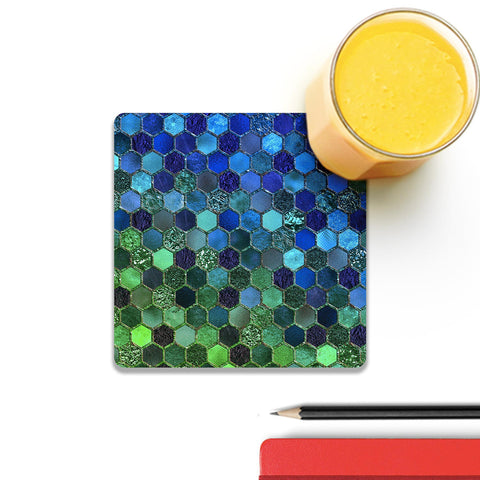 Blue Green Geometric Hexagonal Coaster