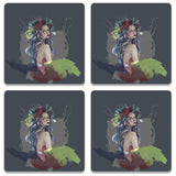 Boho Chick Wooden Square Coaster (Set of 2) | Artist: Abhinav