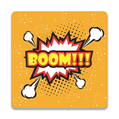 Boom Yellow Wooden Square Coaster | Artist: Abhinav