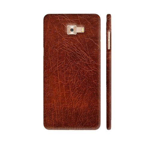 Brown Leather Printed Samsung Galaxy C7 Pro Cover | Artist: ianurag