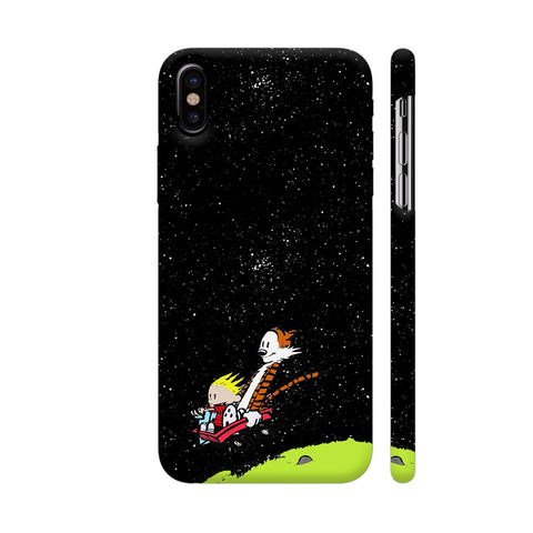Calvin And Hobbes Falling iPhone X Cover | Artist: Kiran Maurya