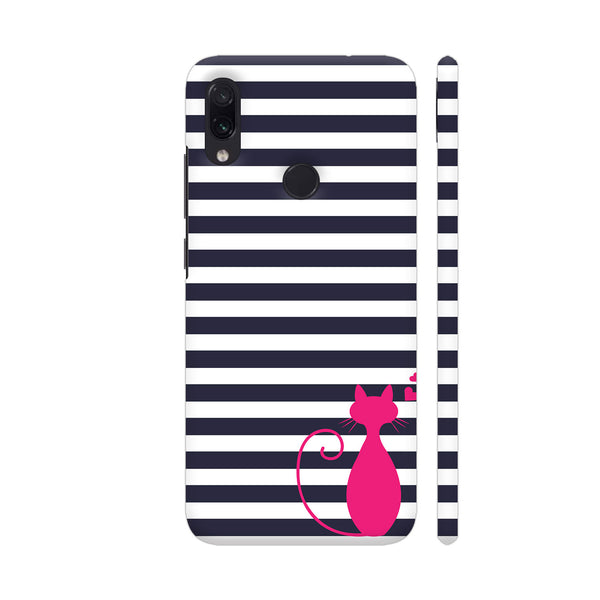 Cat Lover On Black White Stripes Redmi Note 7 Cover | Artist: Dolly P