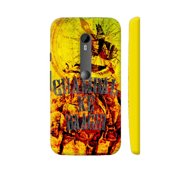 Chambal Ke Baaghi On Yellow Moto G Turbo Cover | Artist: Robin Singh