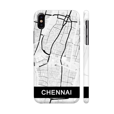 Chennai Map In Black And White iPhone X Cover | Artist: Kiran Maurya