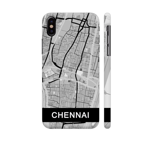 Chennai Map In Grey iPhone X Cover | Artist: Kiran Maurya