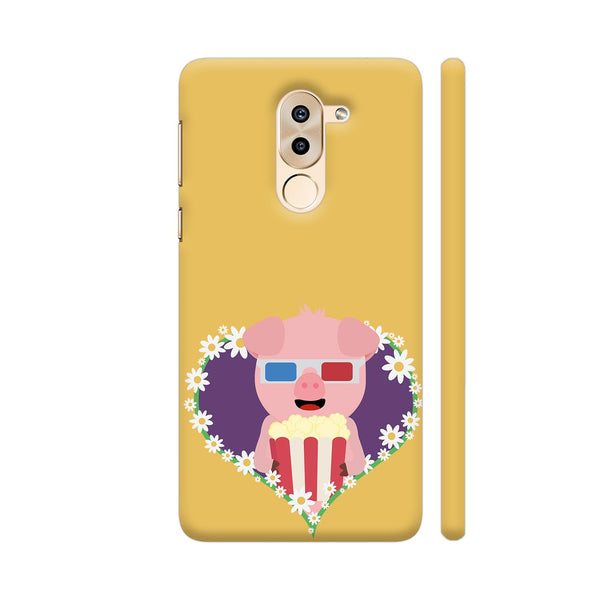 Cinema Pig With Flower Heart Huawei Honor 6X Cover | Artist: Torben