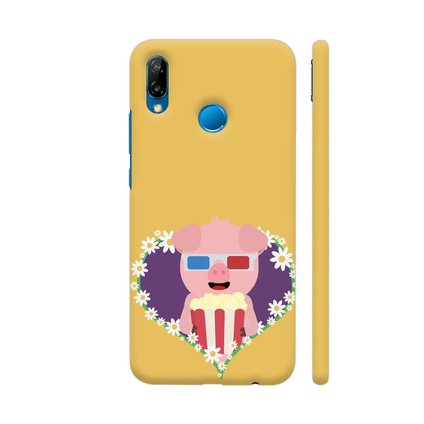 Cinema Pig With Flower Heart Huawei P20 Lite Cover | Artist: Torben