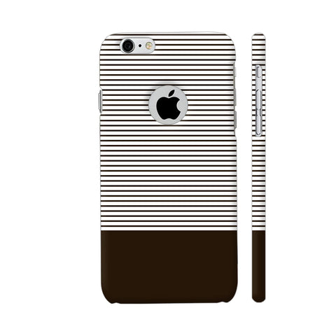 Classy Chocolate Brown Strips iPhone 6 / 6s Logo Cut Cover | Artist: Astha