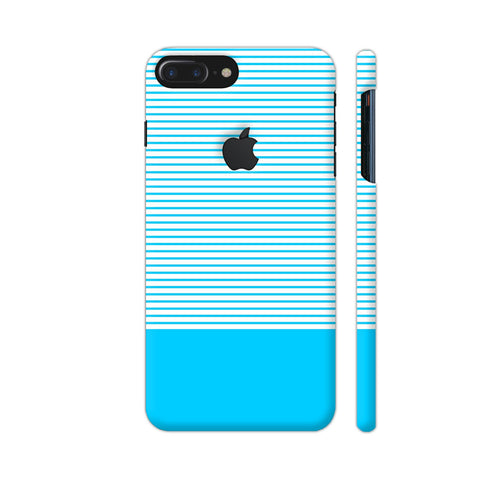 Classy Light Blue Strips iPhone 7 Plus Logo Cut Cover | Artist: Astha
