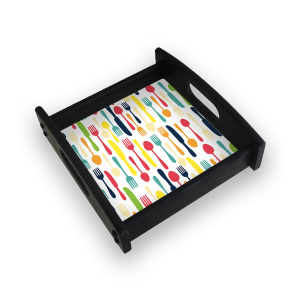 Colorful Cutlery Square Wooden Serving Tray (Ebony)