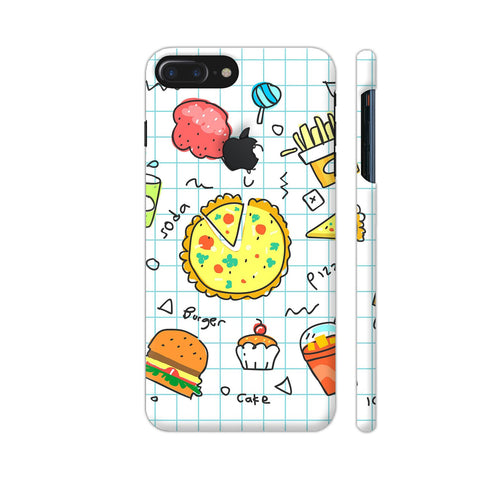 Colorful Fast Food Doodle iPhone 7 Plus Logo Cut Cover | Artist: Ashish Singh
