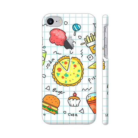 Colorful Fast Food Doodle iPhone 7 Logo Cut Cover | Artist: Ashish Singh
