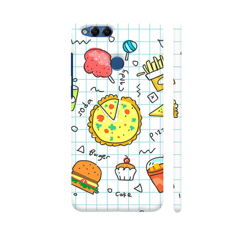 Colorful Fast Food Doodle Honor 7X Cover | Artist: Ashish Singh