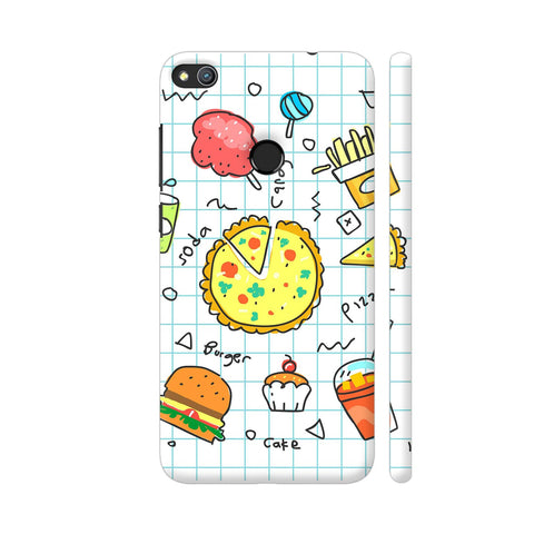 Colorful Fast Food Doodle Honor 8 Lite Cover | Artist: Ashish Singh