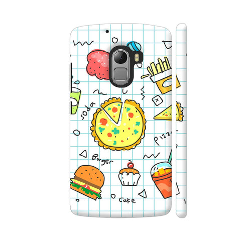 Colorful Fast Food Doodle Lenovo K4 Note Cover | Artist: Ashish Singh