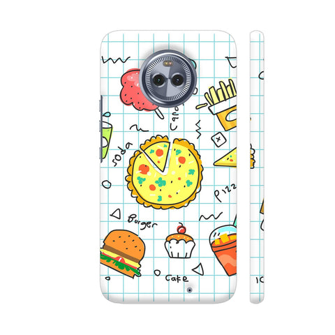 Colorful Fast Food Doodle Moto X4 Cover | Artist: Ashish Singh