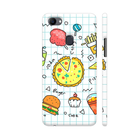 Colorful Fast Food Doodle Oppo F7 Cover | Artist: Ashish Singh