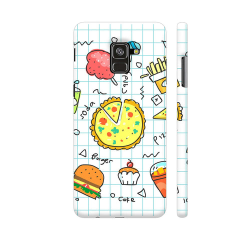 Colorful Fast Food Doodle Samsung A8 Plus Cover | Artist: Ashish Singh