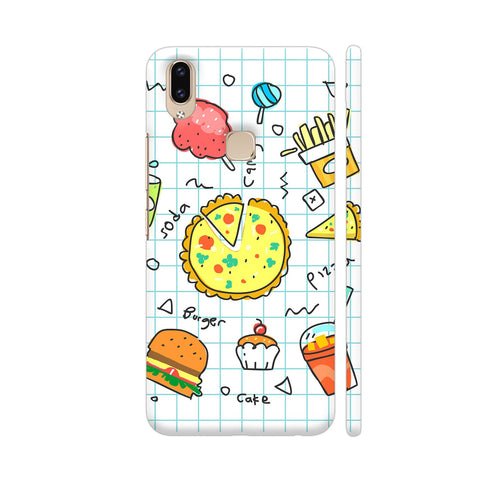 Colorful Fast Food Doodle Vivo V9 Cover | Artist: Ashish Singh