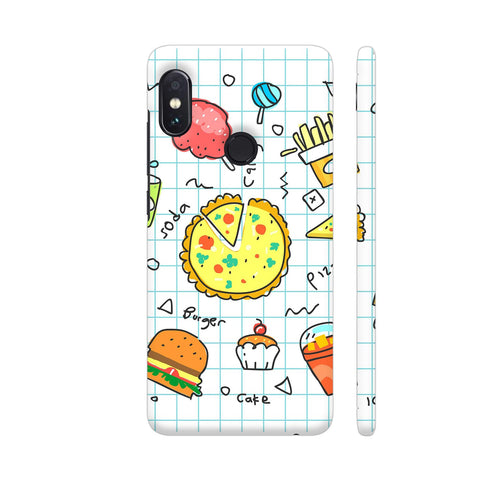 Colorful Fast Food Doodle Redmi Note 5 Pro Cover | Artist: Ashish Singh