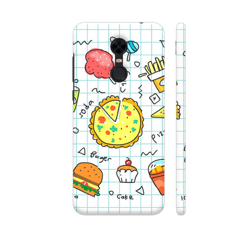 Colorful Fast Food Doodle Redmi Note 5 Cover | Artist: Ashish Singh