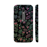 Colorful Pink Flowers On Black Metal Moto G Turbo Cover | Artist: UtART