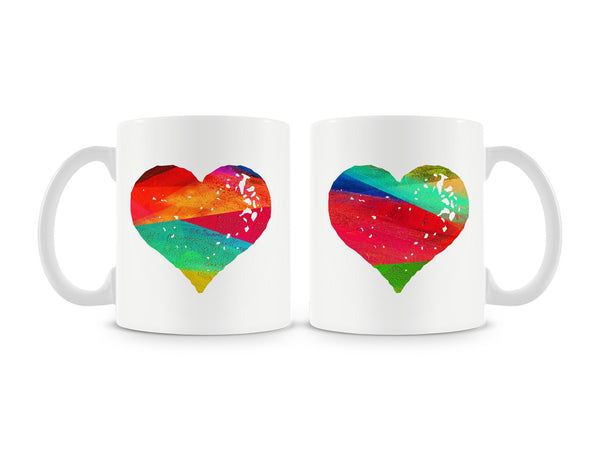 Colorful Strokes Heart Mug (Set of 2)