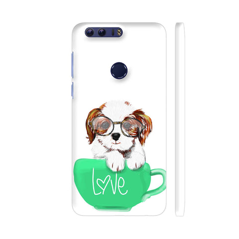 Cute Dog In Green Love Mug Huawei Honor 8 Cover | Artist: Abhijeet Sinha