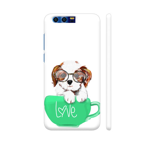 Cute Dog In Green Love Mug Huawei Honor 9 Cover | Artist: Abhijeet Sinha