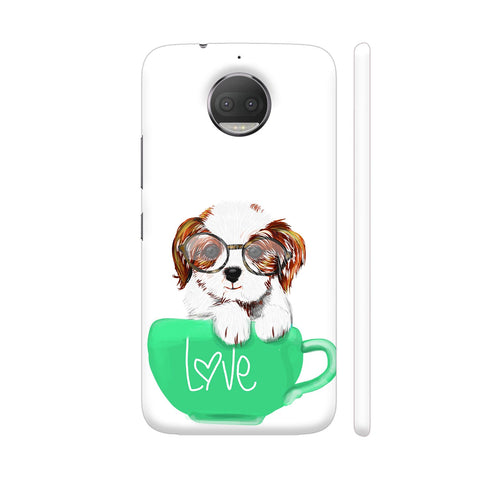 Cute Dog In Green Love Mug Moto G5S Plus Cover | Artist: Abhijeet Sinha