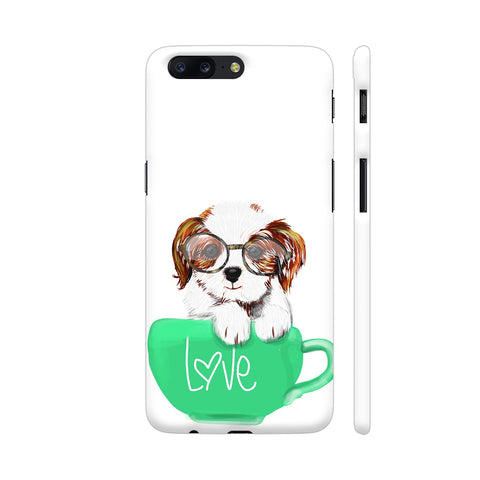 Cute Dog In Green Love Mug OnePlus 5 Cover | Artist: Abhijeet Sinha