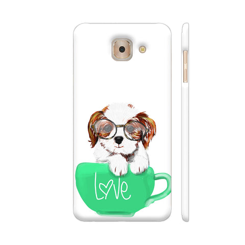 Cute Dog In Green Love Mug Samsung Galaxy J7 Max Cover | Artist: Abhijeet Sinha