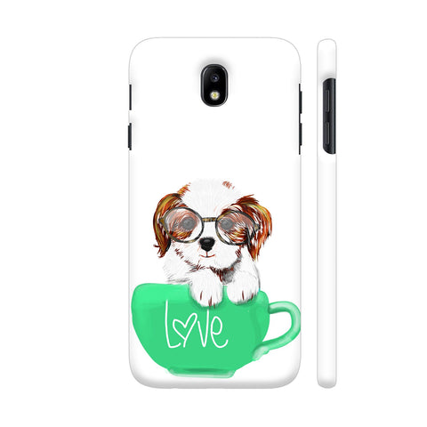 Cute Dog In Green Love Mug Samsung J7 Pro Cover | Artist: Abhijeet Sinha