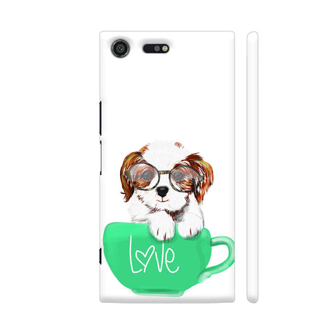Cute Dog In Green Love Mug Xperia XZ Premium Cover | Artist: Abhijeet Sinha