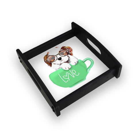 Cute Dog In Green Love Mug Square Wooden Serving Tray (Ebony)