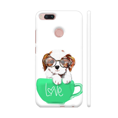 Cute Dog In Green Love Mug Xiaomi Mi A1 Cover | Artist: Abhijeet Sinha