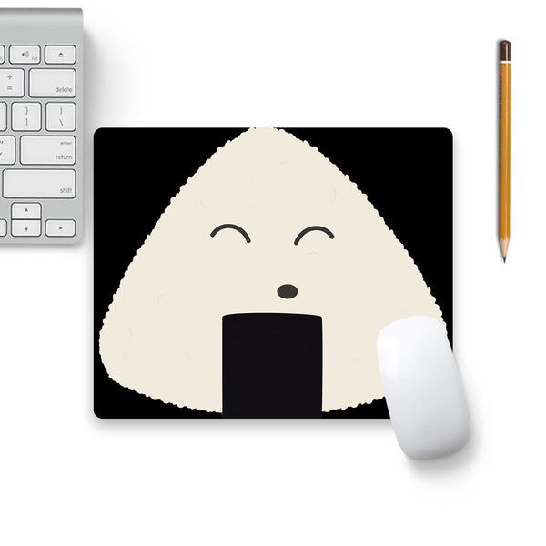 Cute Onigiri Rice Face Mouse Pad Beige Base
