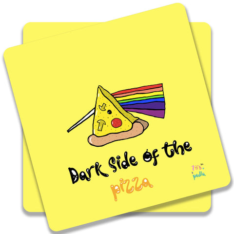 Dark Side Of The Pizza On Yellow Coaster (Set of 2)