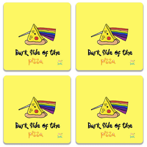 Dark Side Of The Pizza On Yellow Coaster (Set of 4)