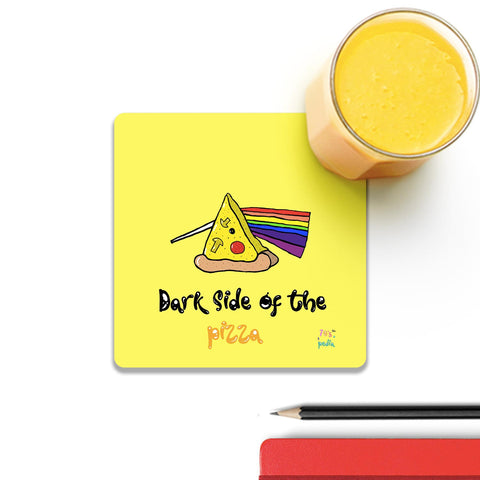 Dark Side Of The Pizza On Yellow Coaster