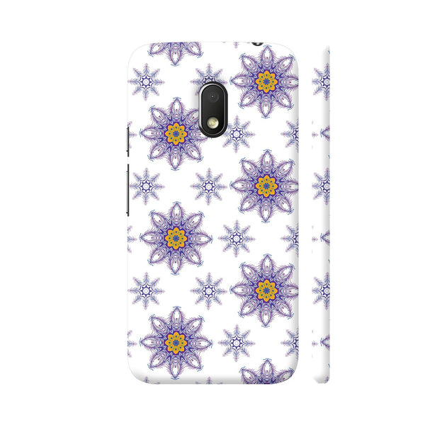 Decorative Pattern Purple Flowers On White Moto G4 Play Cover | Artist: Divakar Vikramjeet Singh