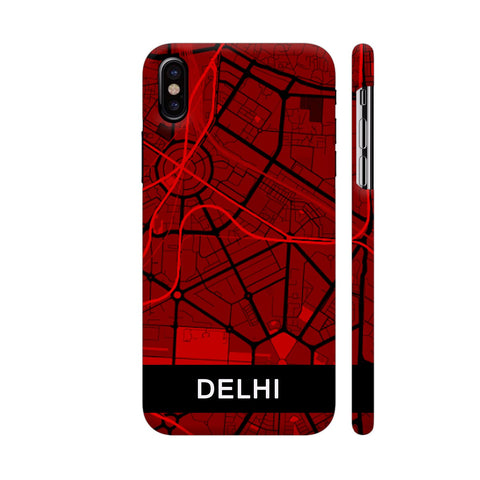 Delhi Map In Red iPhone X Cover | Artist: Kiran Maurya
