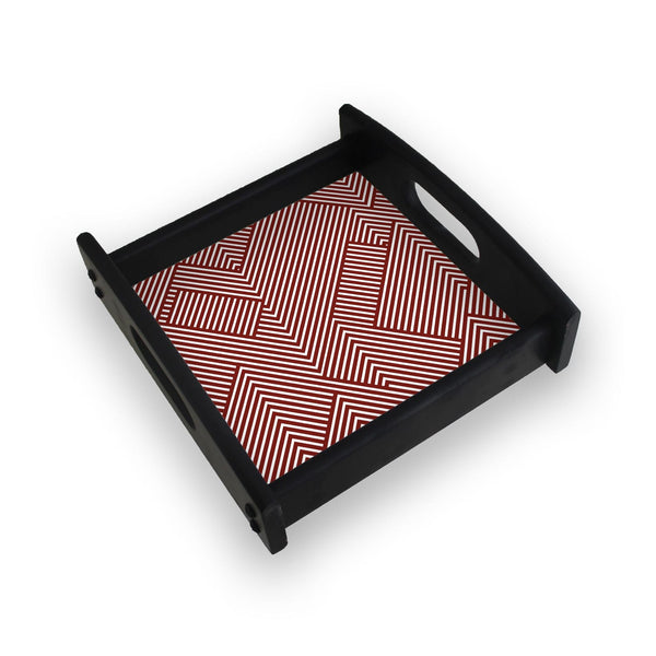 Diagonal Stripes Red Square Wooden Serving Tray (Ebony)