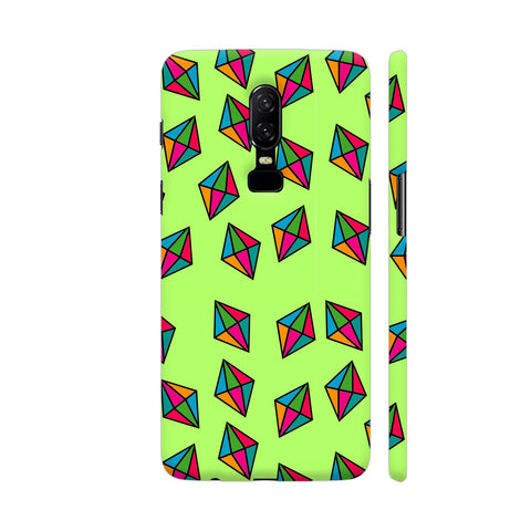 Diamond Pattern On Green OnePlus 6 Cover | Artist: Malls