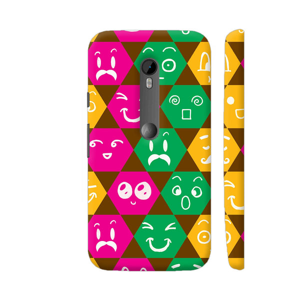 Different Emoticons In Multicolored Hexagons Moto G Turbo Cover | Artist: Sangeetha