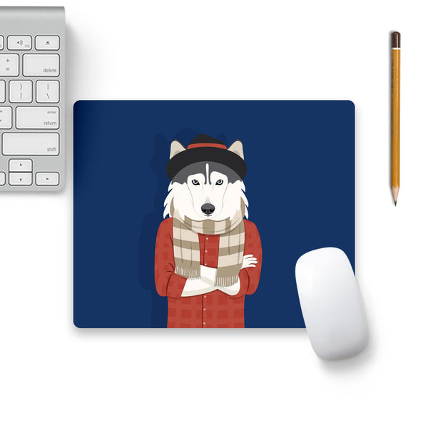 Dog Swag In Blue Mouse Pad Black Base | Artist: Abhinav