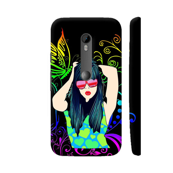 Dream Girl On Black Multicolor Moto G Turbo Cover | Artist: Sangeetha
